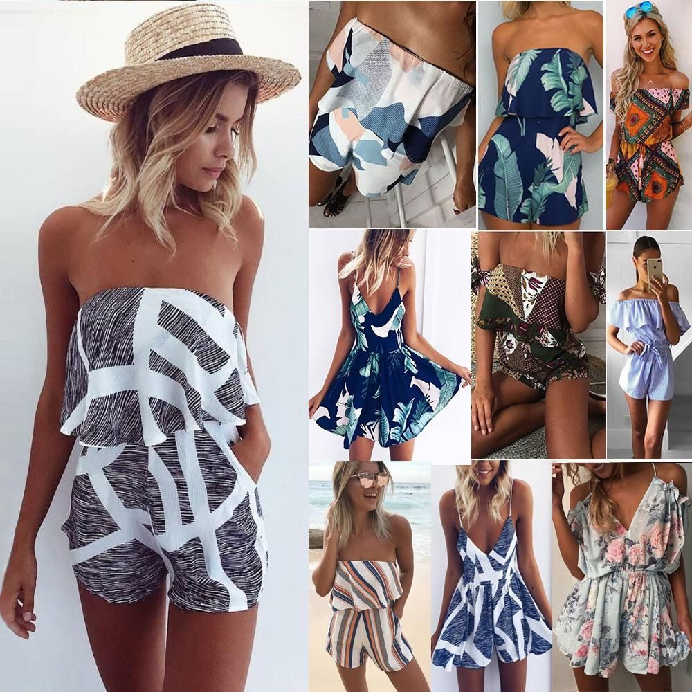 Summer Women Floral Holiday Mini Playsuit Jumpsuit Beach Short Boho Dress Romper