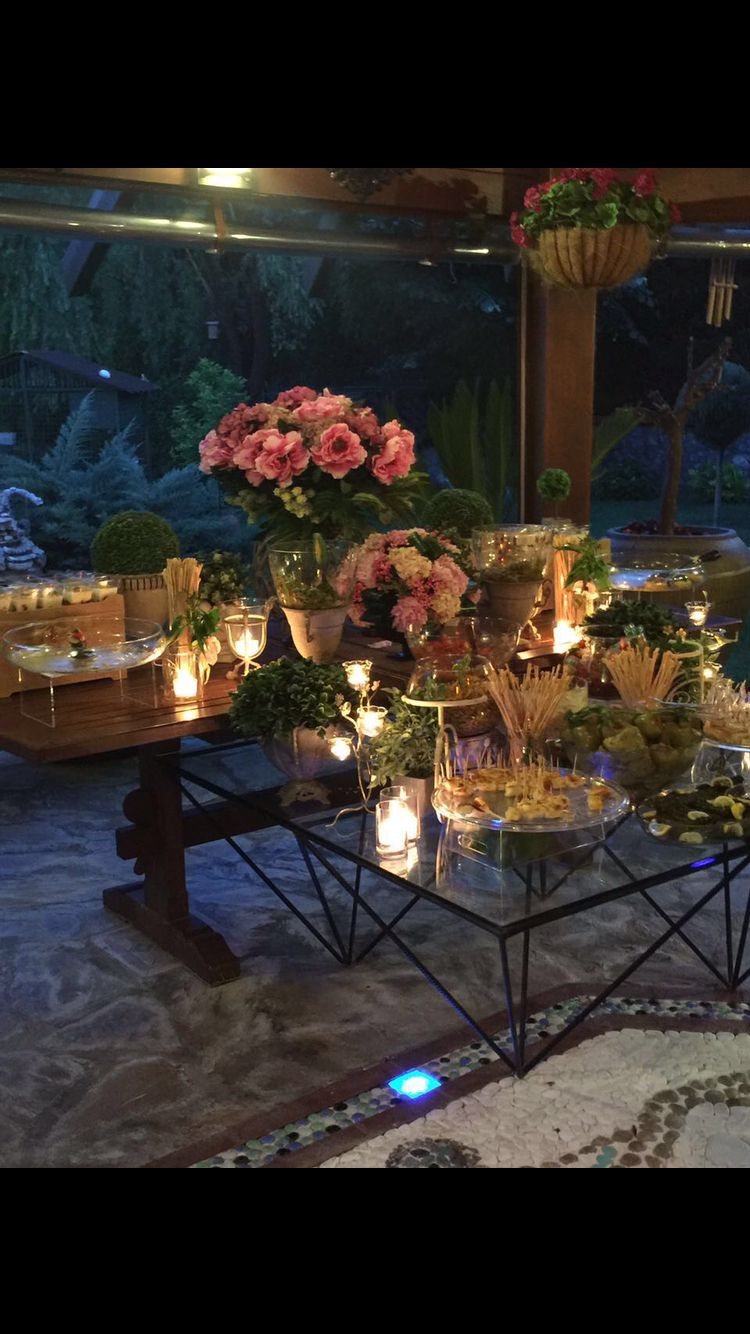 Open buffet in garden