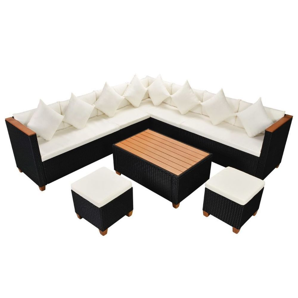 Waterproof Black Rattan Garden Sofa Set White Cushioned Steel