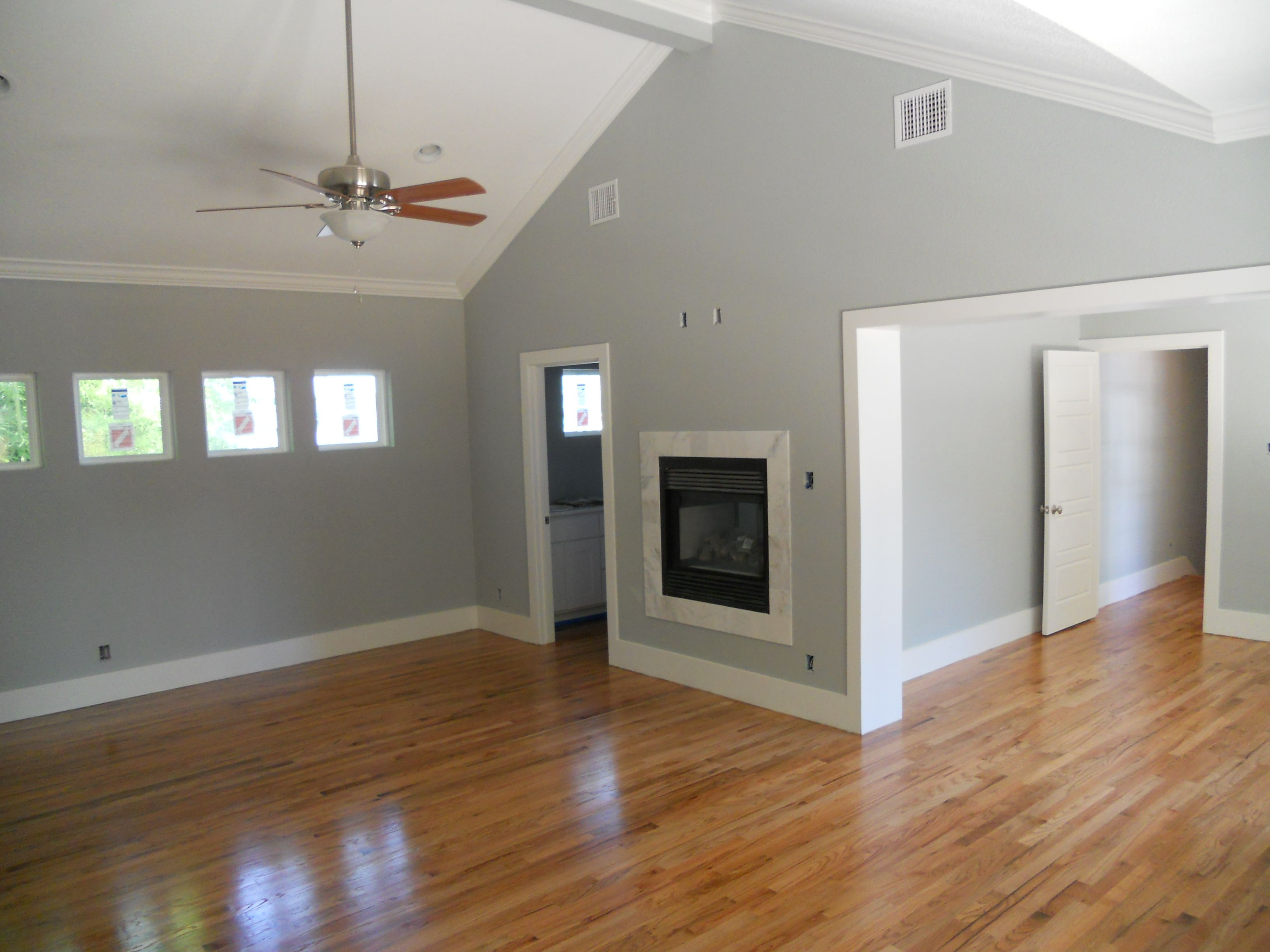 Color Of Wood Flooring With Grey Walls And White Trim.not Sure If Weu0026 Have  White Trim Or The Wood Color Trim.
