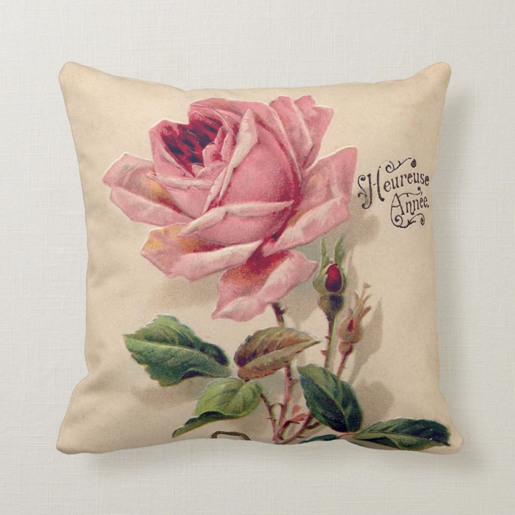Pink Vintage Rose Throw Pillow Zazzle Com In 2020 Throw Pillows Flower Pillow Decorative Pillow Cases