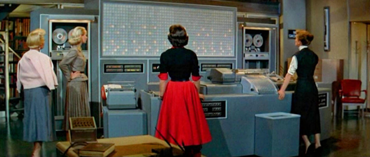 The Massive Computer From 1957 S The Desk Set The Fifth Of Six Spencer Tracy Katharine Hepburn Films Together Old Movies Movies Best Movies List