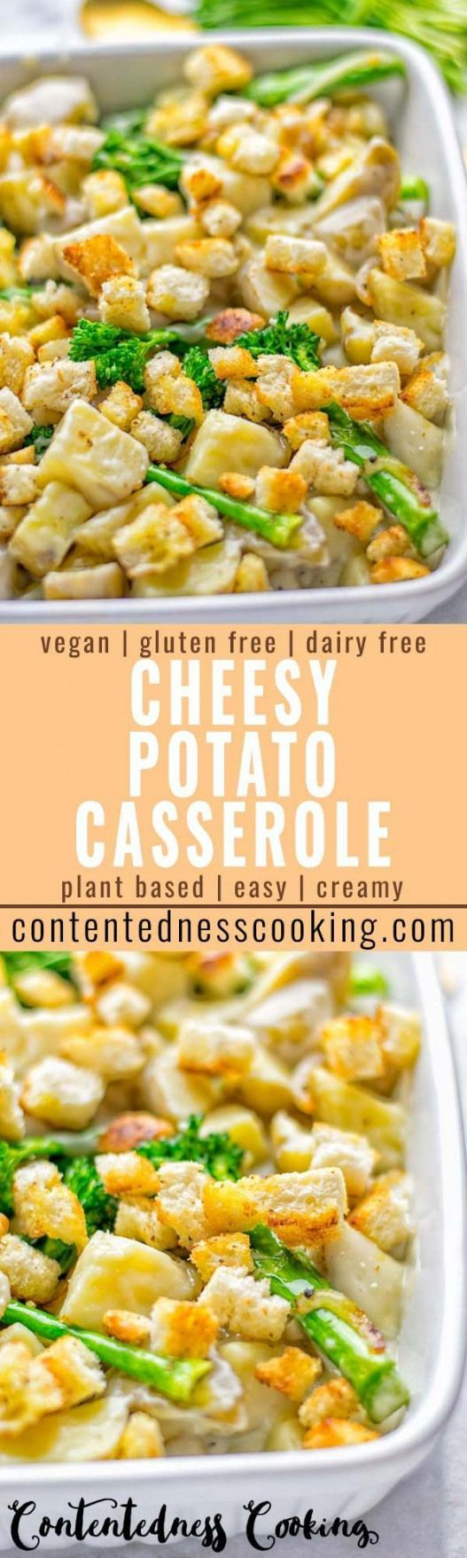 Your favorite recipe source for healthy food [Paleo, Vegan, Gluten free] Super easy and delicious: This Cheesy Potato Casserole with Garlic Croutons is entirely vegan gluten free and the ultimate cozy comfort food for everyone. Dinner lunch meal prep work lunches and a stunner on every Christmas or holiday table.