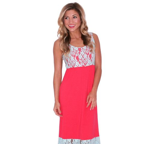 Lace Divine Maxi in Hot Pink | Impressions Online Women's Clothing Boutique  This adorable two-toned dress has pretty turquoise lace detail on the bodice and bottom of the skirt. It's perfect for wearing to a backyard BBQ or out for drinks with your girls!