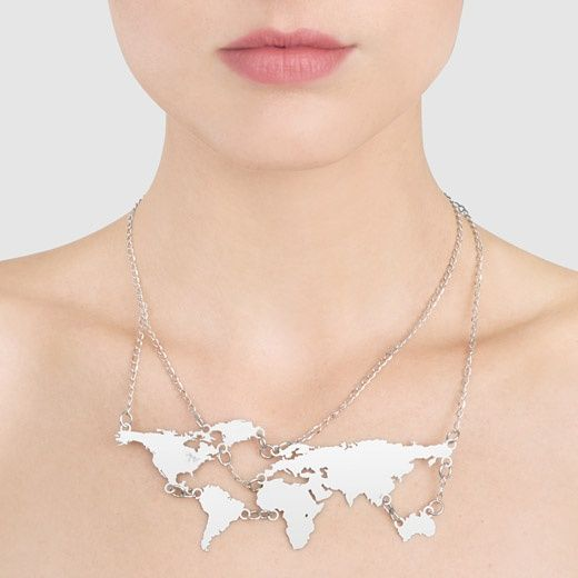 World map necklace from the moma store other map products world map necklace from the moma store gumiabroncs Choice Image