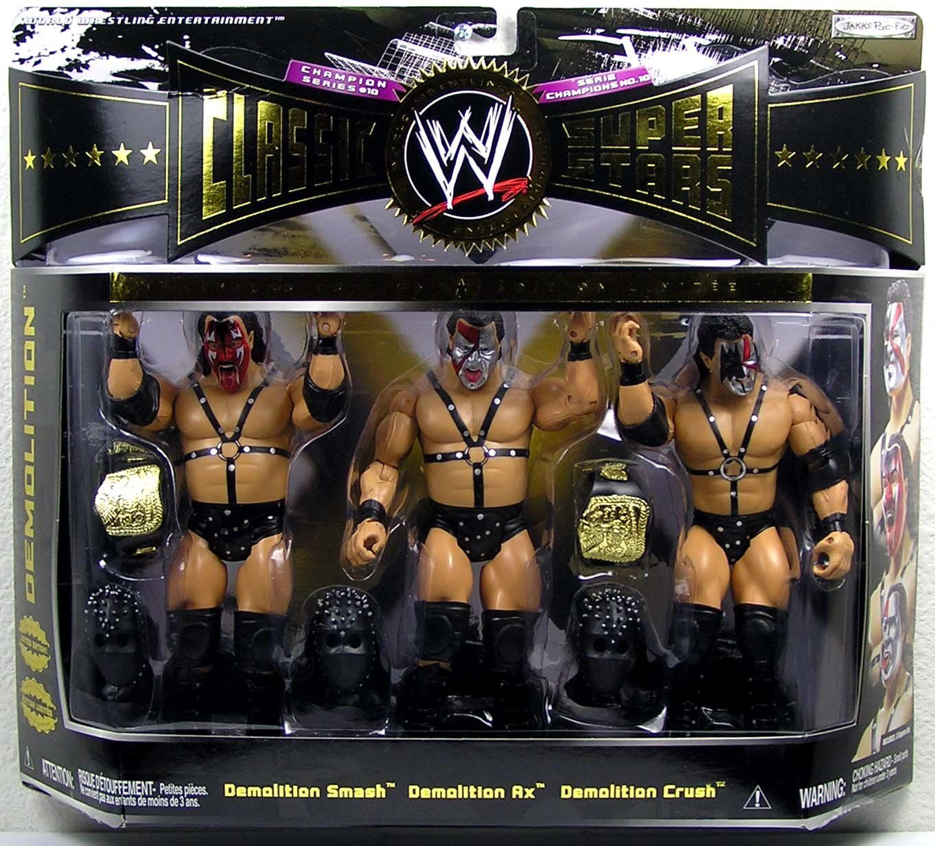 WWE Wrestling Classic Superstars Limited Edition Champion Series 3-Pack Demolition (Smash, Ax and Crush). WWE Wrestling Classic Superstars Limited Edition Champion Series Demolition 3-Pack Action Figure Set (Smash, Ax and Crush).