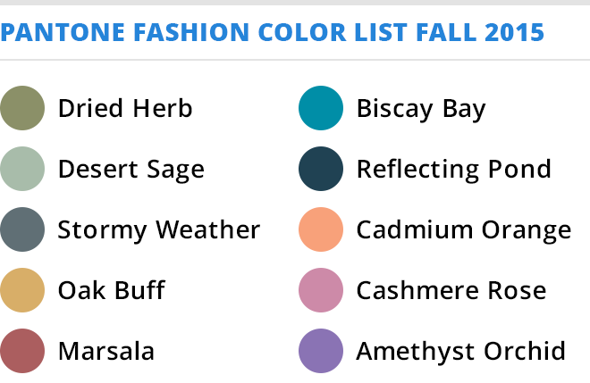 The Colors of Fall 2015 by Pantone | Stylewise by Debra