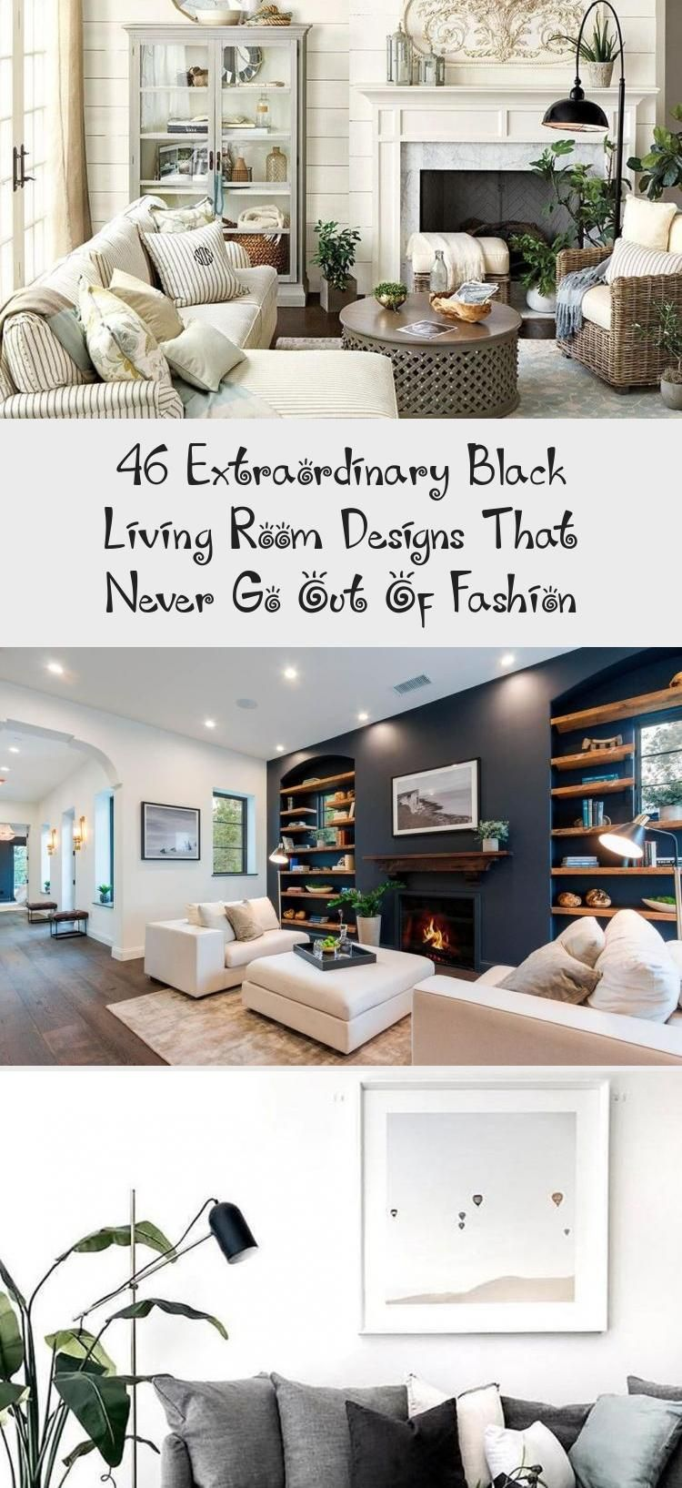 46 Extraordinary Black Living Room Designs That Never Go Out Of Fashion living