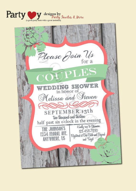 Couples Dinner Party Ideas Part - 27: Coupleu0027s Wedding Shower Invitation Rustic By PartyInvitesAndMore, $10.00.  Couples Shower InvitationsDinner Party ...