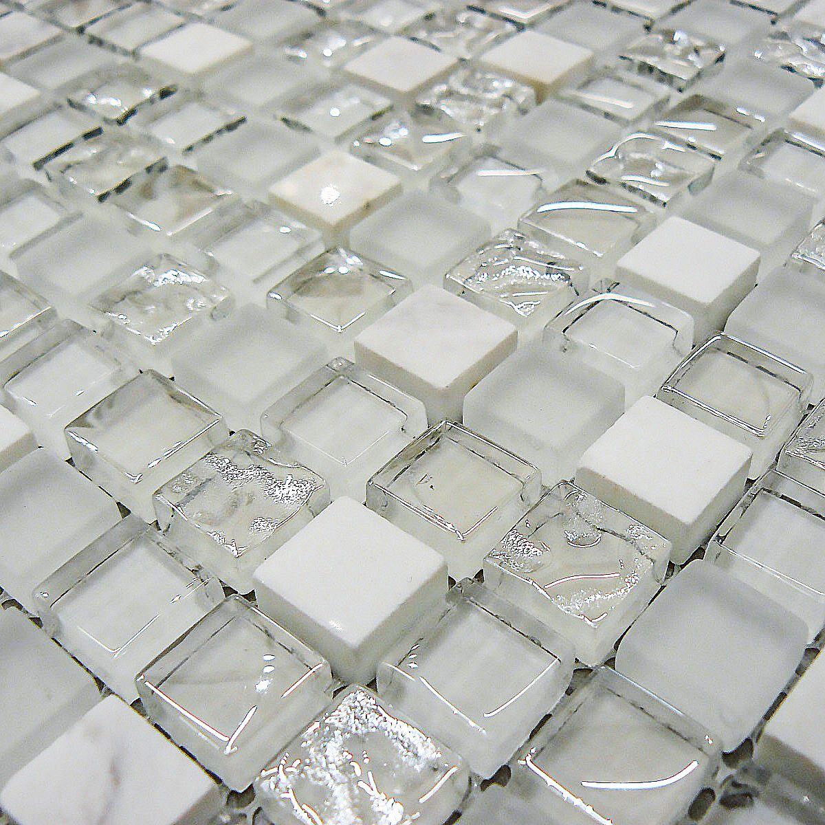 White Stone Glass Mosaic Tiles In 2020 Glass Mosaic Tiles Mosaic Glass Mosaic Tiles