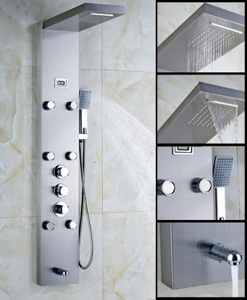 Stainless Steel Rainfall Shower Panel Massage Tower Thermostatic ...