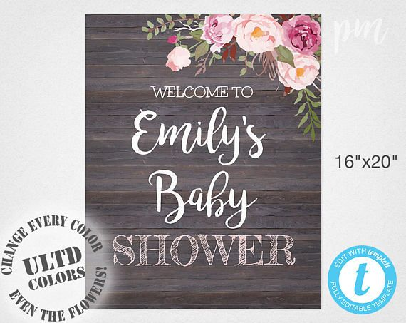 Baby Shower Welcome Sign Template Welcome Baby Shower Sign Rustic