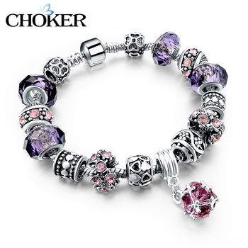 925 Silver Crystal Charm Bracelets for Women With Purple Murano Glass Beads DIY Jewelry Bracelet Femme valentine's day Pulseras