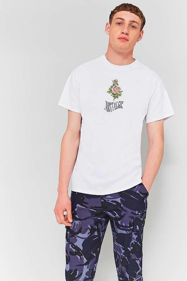 Slide View: 1: UO Nostalgic Rose White Embroidered T-shirt