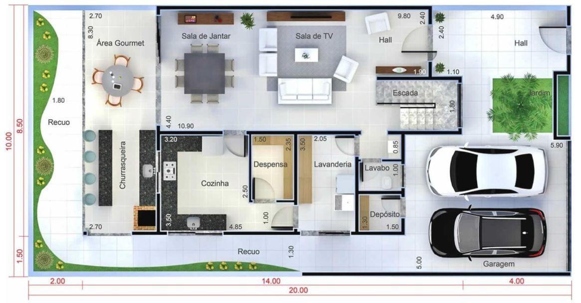 Home Design Plan 10x20 Meters Tipos De Escadas Planta De Casa