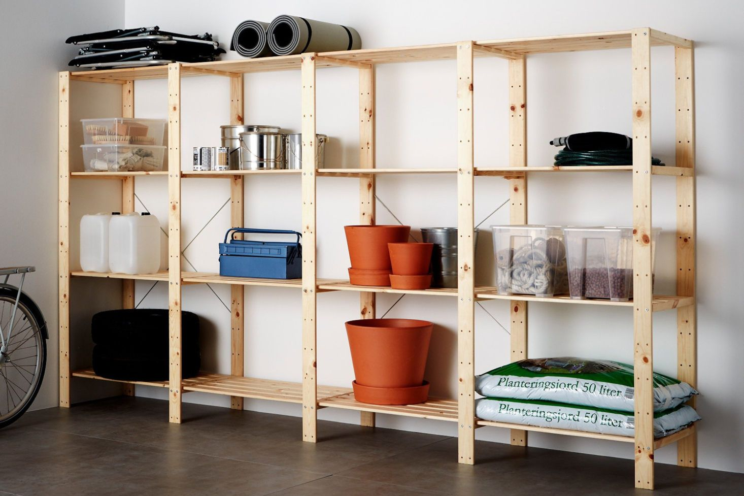 Your Garage Should Be As Clean And Organized As Anywhere In The House But Let S Face It No One Wants To Shell Out Serious Ca Shelving Unit Shelving Ikea Ivar