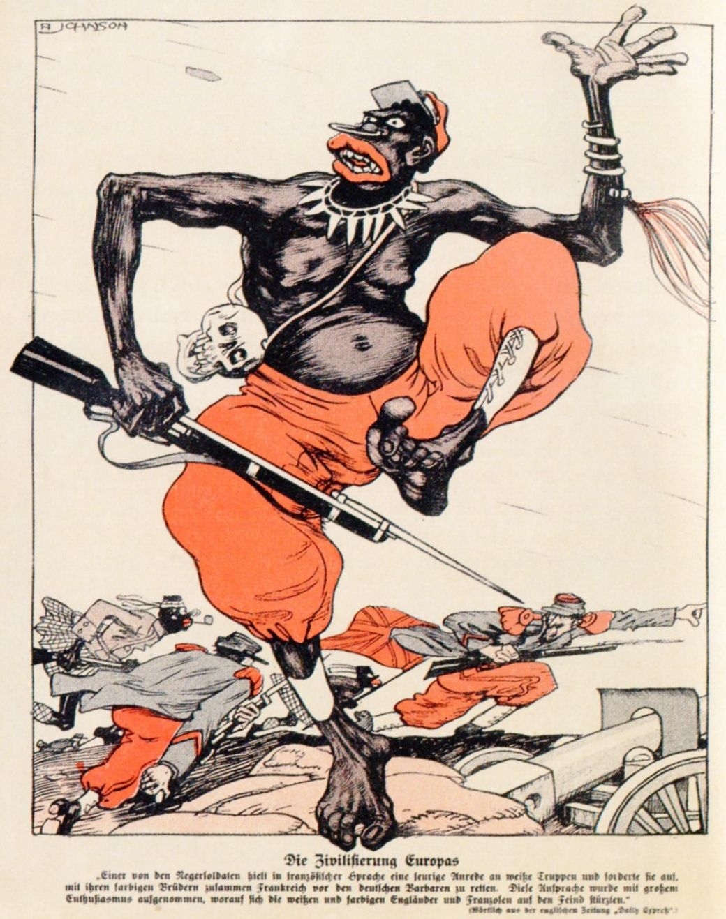 A Johnson Die Zivilisierung Europas In Kladderadatsch Duitsland 23 Juli 1916 Senegalese Soldaat Meevec Propaganda Posters Propaganda Vintage Comics