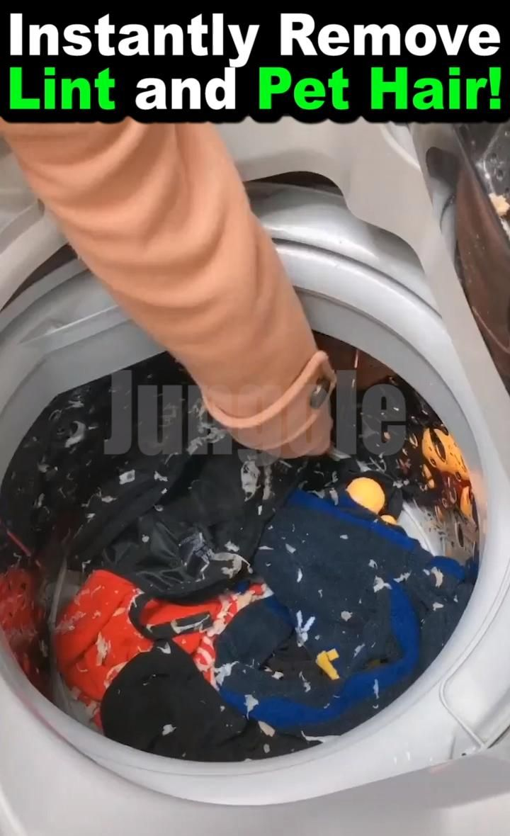 Instantly Remove Lint And Pet Hair From The Washing Machine Video In 2020 Cleaning Hacks House Cleaning Tips Remove Lint