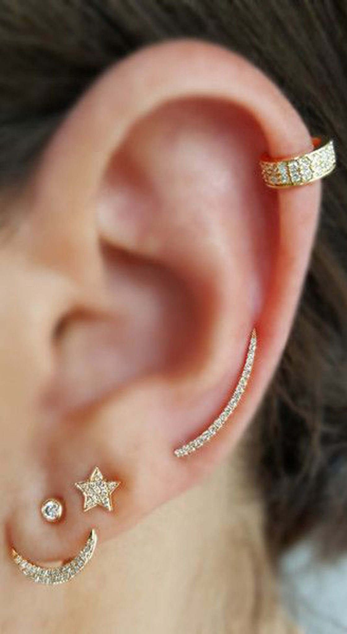 Ring In Kaars.Classy Gold Ear Piercing Jewelry Ideas Combinations At Mybodiart Com