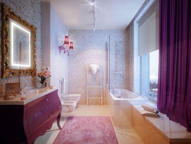 luxus badezimmer neubarock stil rosa kommode gardinen goldener ...