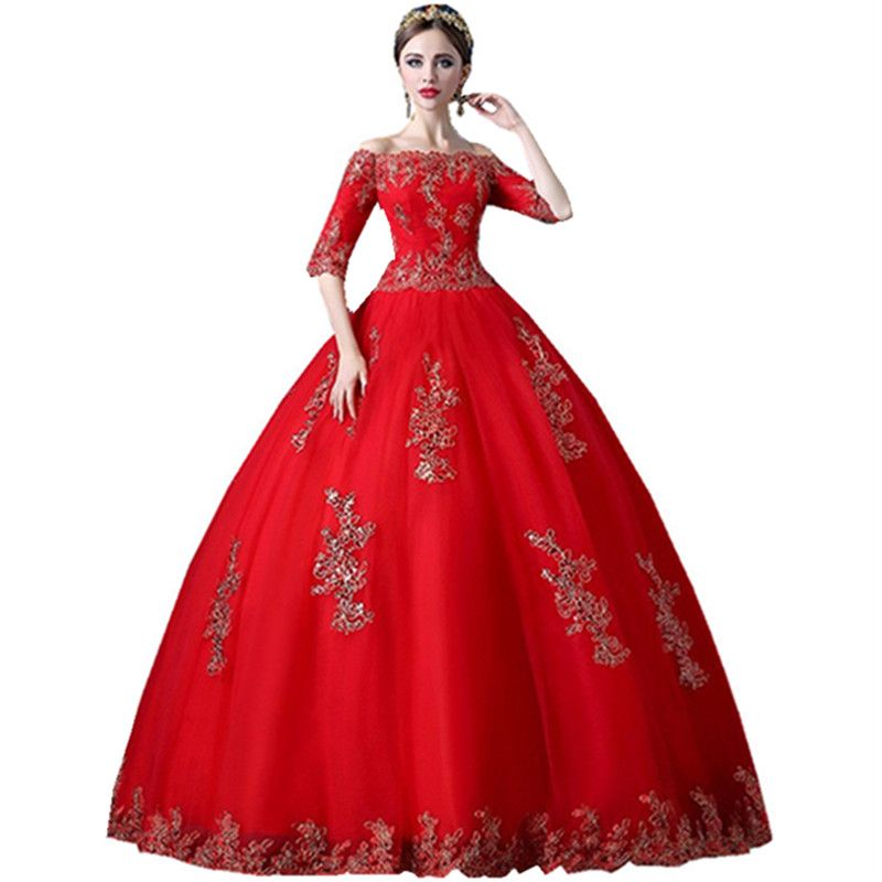 Long Ball Gown Cheap Boat Neck Half Sleeve Red Elegant Appliques ...