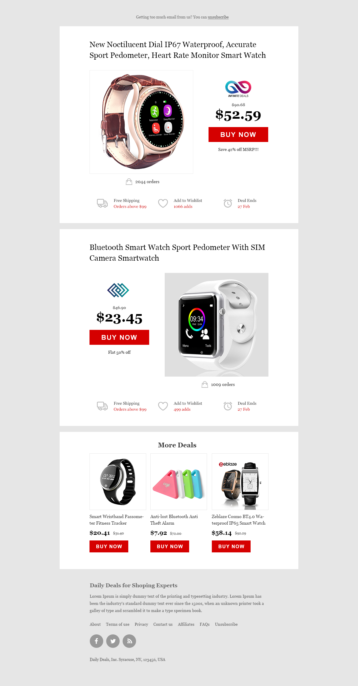 Newsletter For Daily Deals Website Deals Newsletter Template