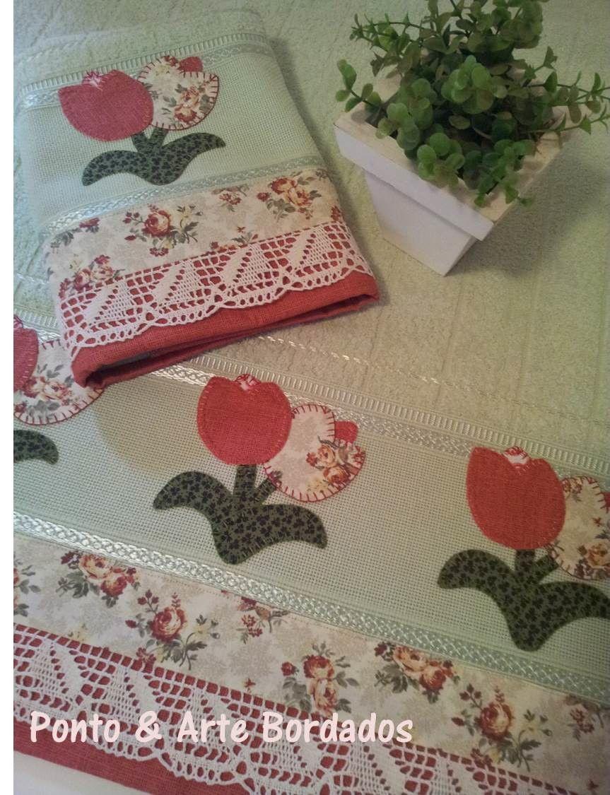 Jogo de tolhas tulipas toallas bordado y apliques for Apliques para toallas