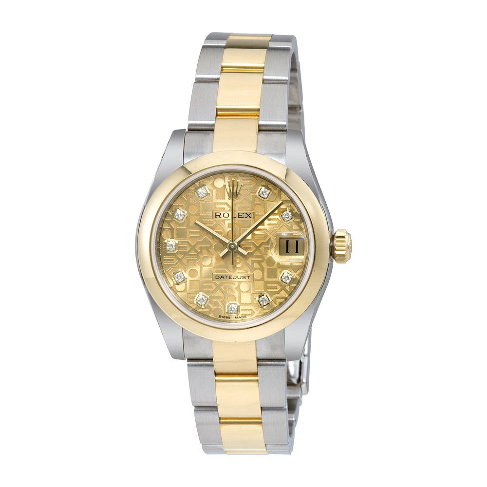 Rolex datejust champagne jubilee diamond dial steel and k yellow