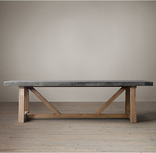 Salvaged Wood Concrete Beam Rectangular Dining Table Dining