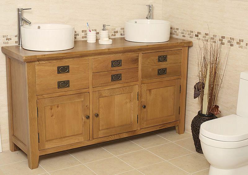 Traditional Oak Double Vanity Unit With Basin Bathroom Valencia
