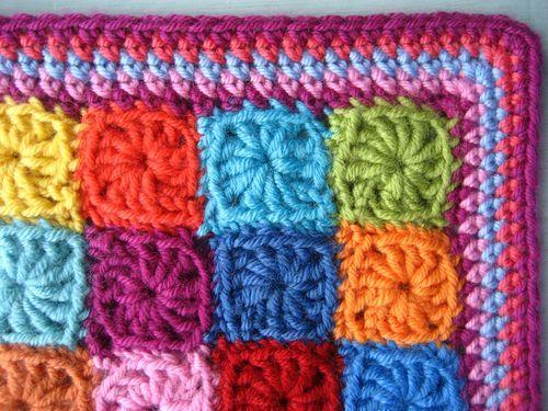 Bright colors in this crochet blanket. | ♥ Granny Crochet ...