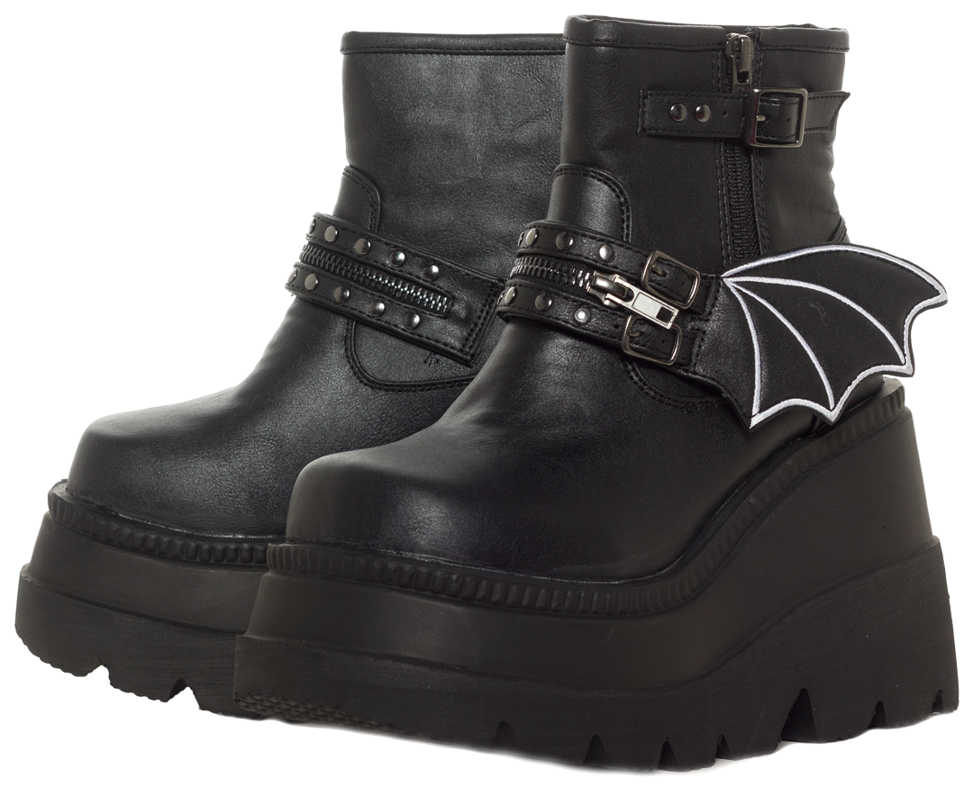 DEMONIA BAT WING ANKLE BOOTS   Boots