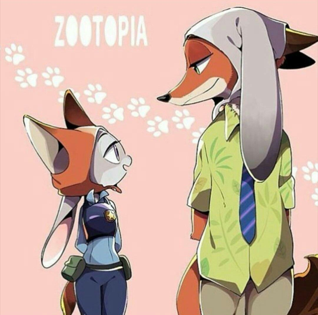 Ausmalbild Nick Und Judy Hopps Aus Zootopia: Nick Wilde Cute ~ Judy Hopps Cute ~ Zootopia