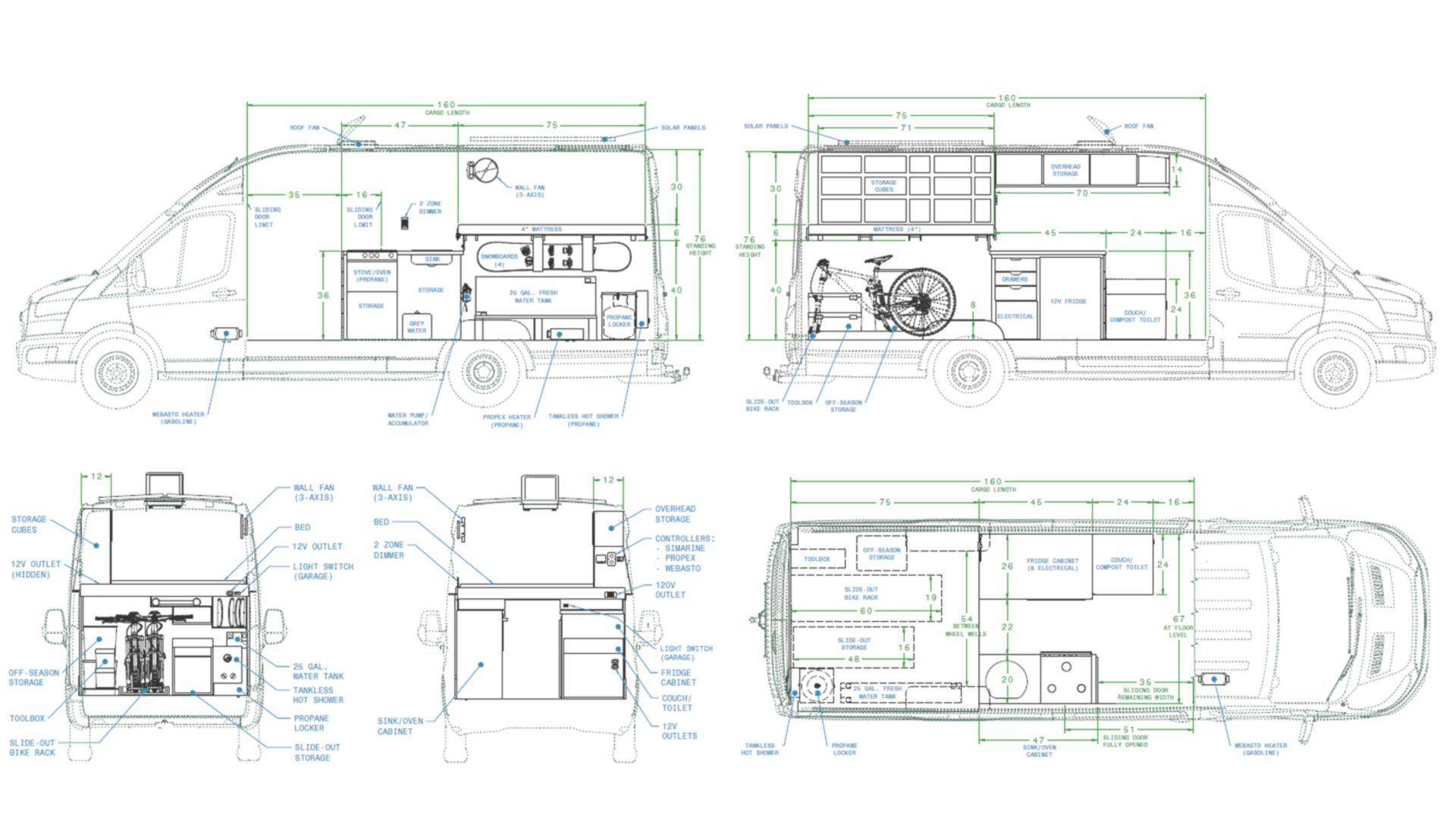 Camper Van Floor Plan Interior Layout In 2020 Ford Transit Camper