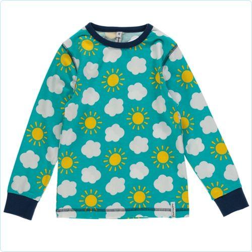 "Maxomorra Shirt ""Sonne & Wolken"" blau - LolaKids"