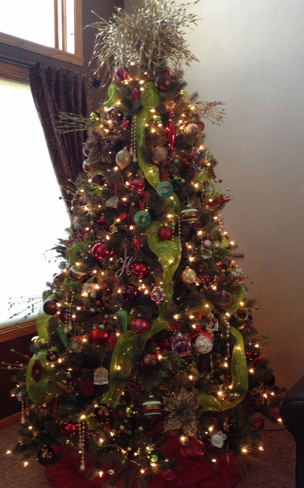 Christmas Tree In Red Green Brown And Leopard Christmas Tree Christmas Christmas Tree Decorations