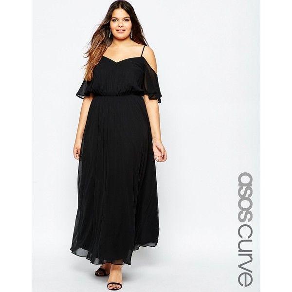 asos curve maxi dress with cold shoulder & flutter sleeve ($81