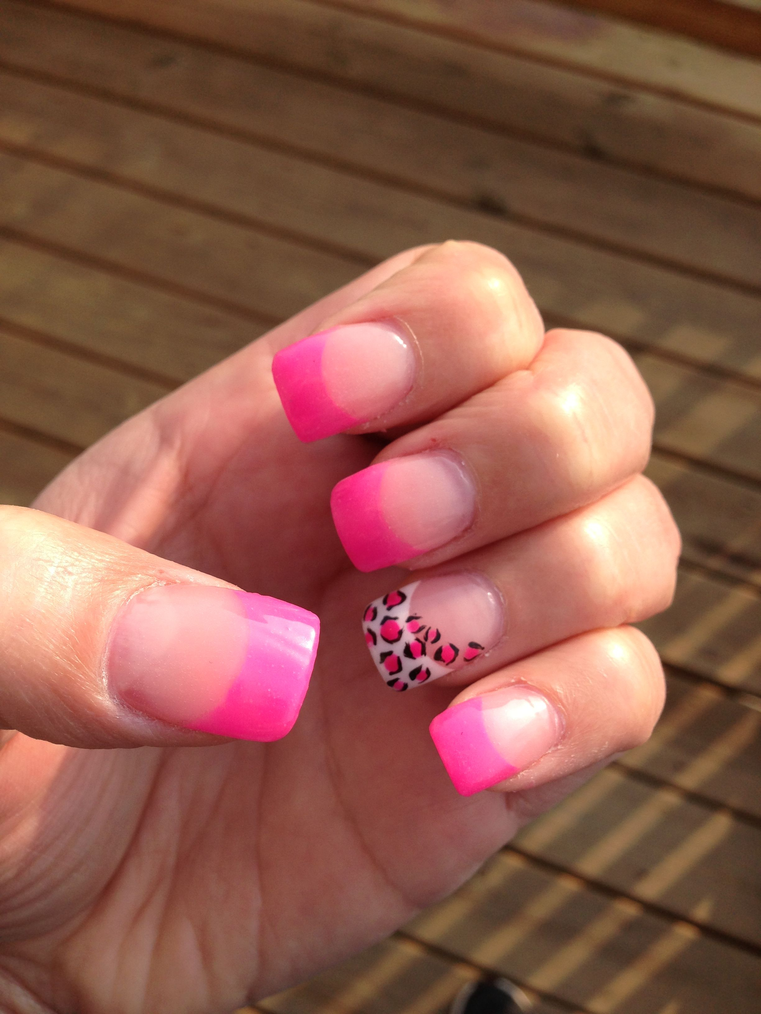 Hot pink French manicure (tips) with leopard design <3 ((This is ...