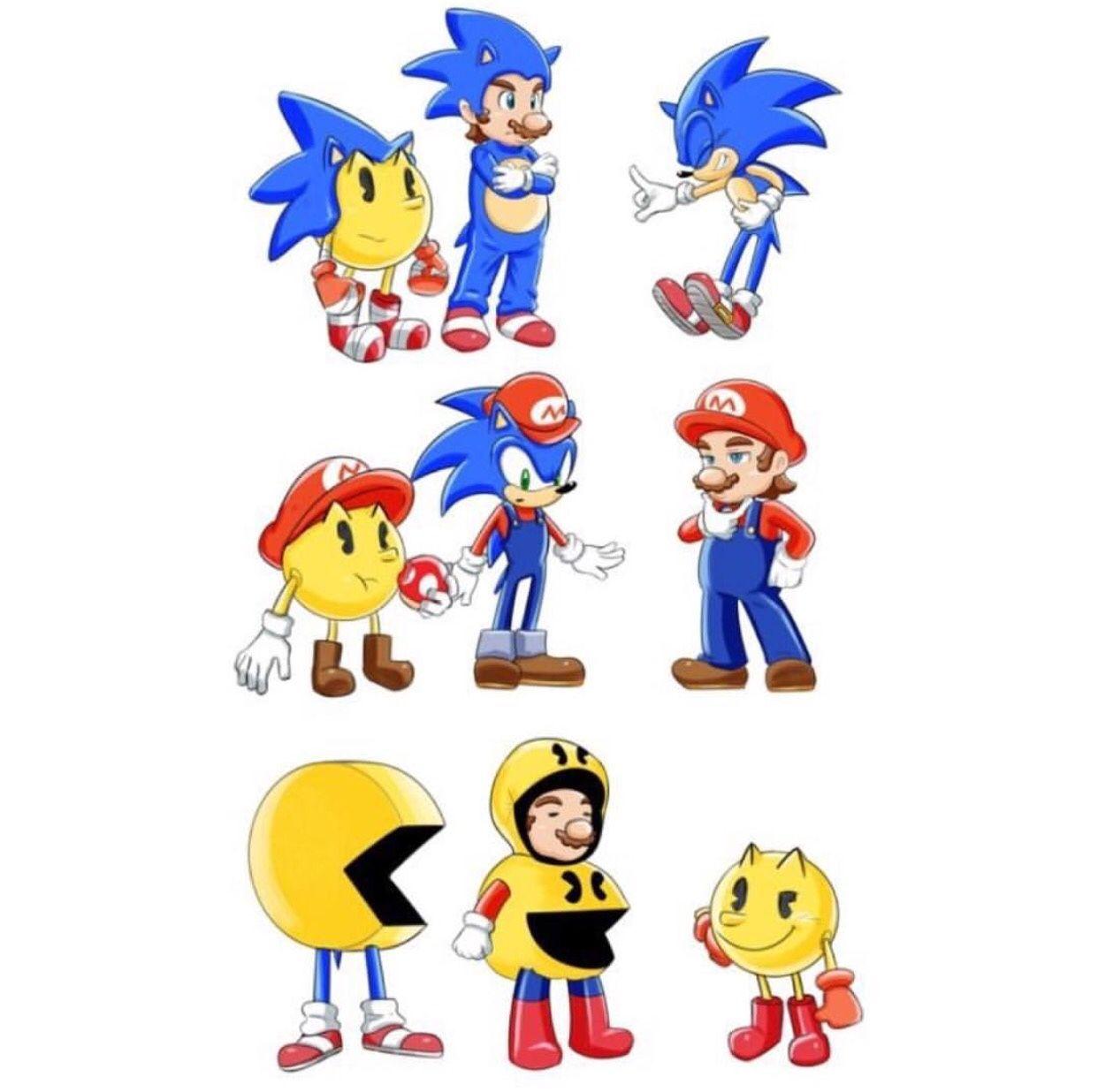 Mario Vs Sonic Vs Megaman Vs Pacman sonic the hedgehog   T...