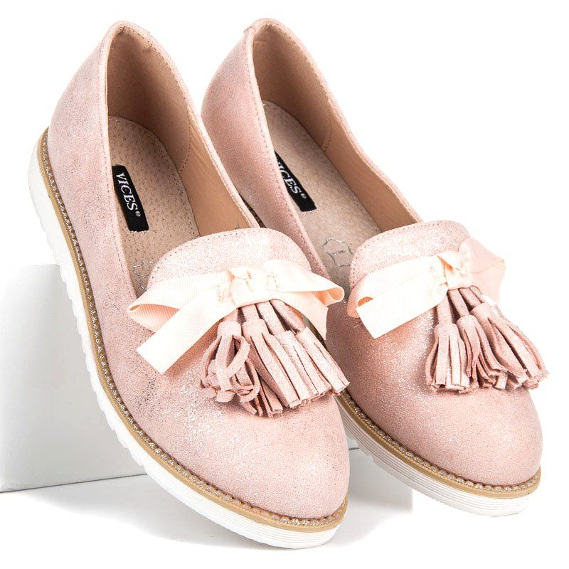 Vices Zamszowe Lordsy Z Fredzlami Rozowe Shoes Flat Espadrille Espadrilles