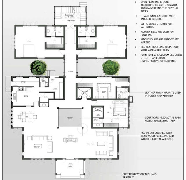 4bedroom Traditional Home Design With Free Plan Free Kerala Home Plans Traditional House Kerala Traditional House Chettinad House