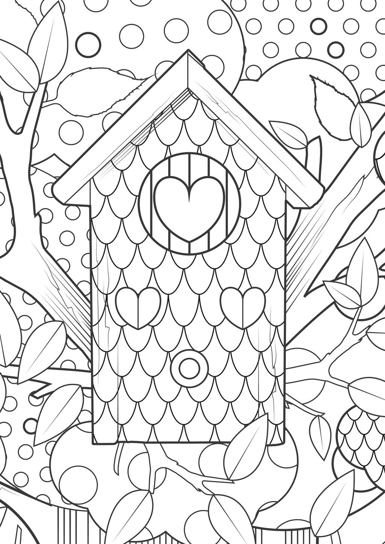 kleurplaat vogelhuisje bos hart coloring bird house heart fun