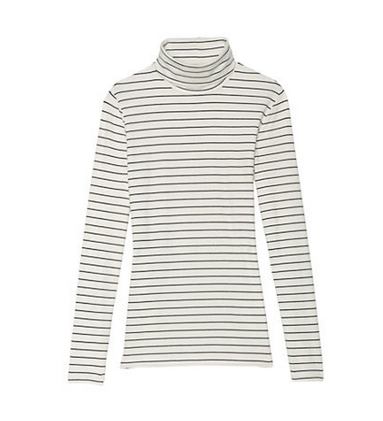 Say yes to stripes (you know you want to). Lightweight, this turtleneck might just find its way into every outfit in your wardrobe this Fall.