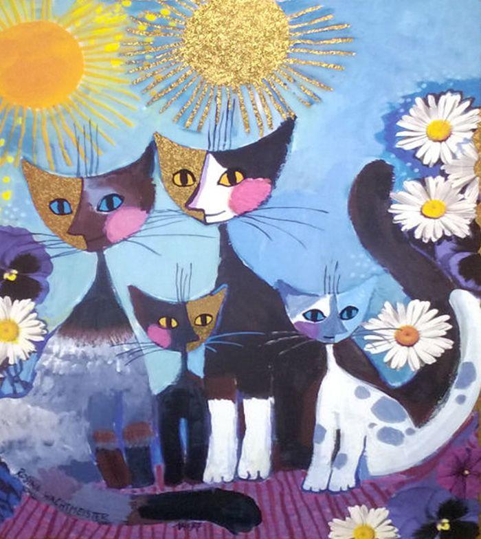 Cat Family Par Rosina Wachtmeister Rosina Wachtmeister Katzen Malereien Illustration Katze