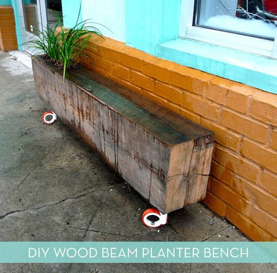 DIY Reclaimed Wood Beam Planter Bench