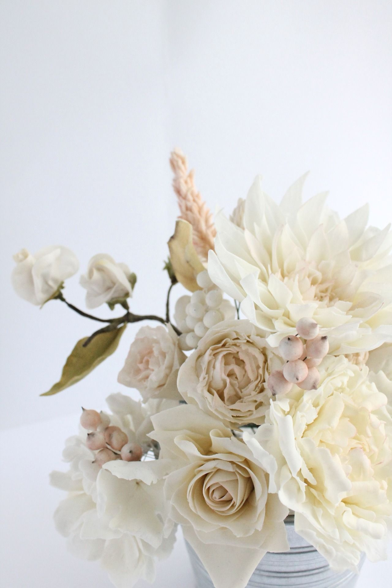 Gumpaste flowers - spray rose, berries, dahlia, rose, peony, celosia ...