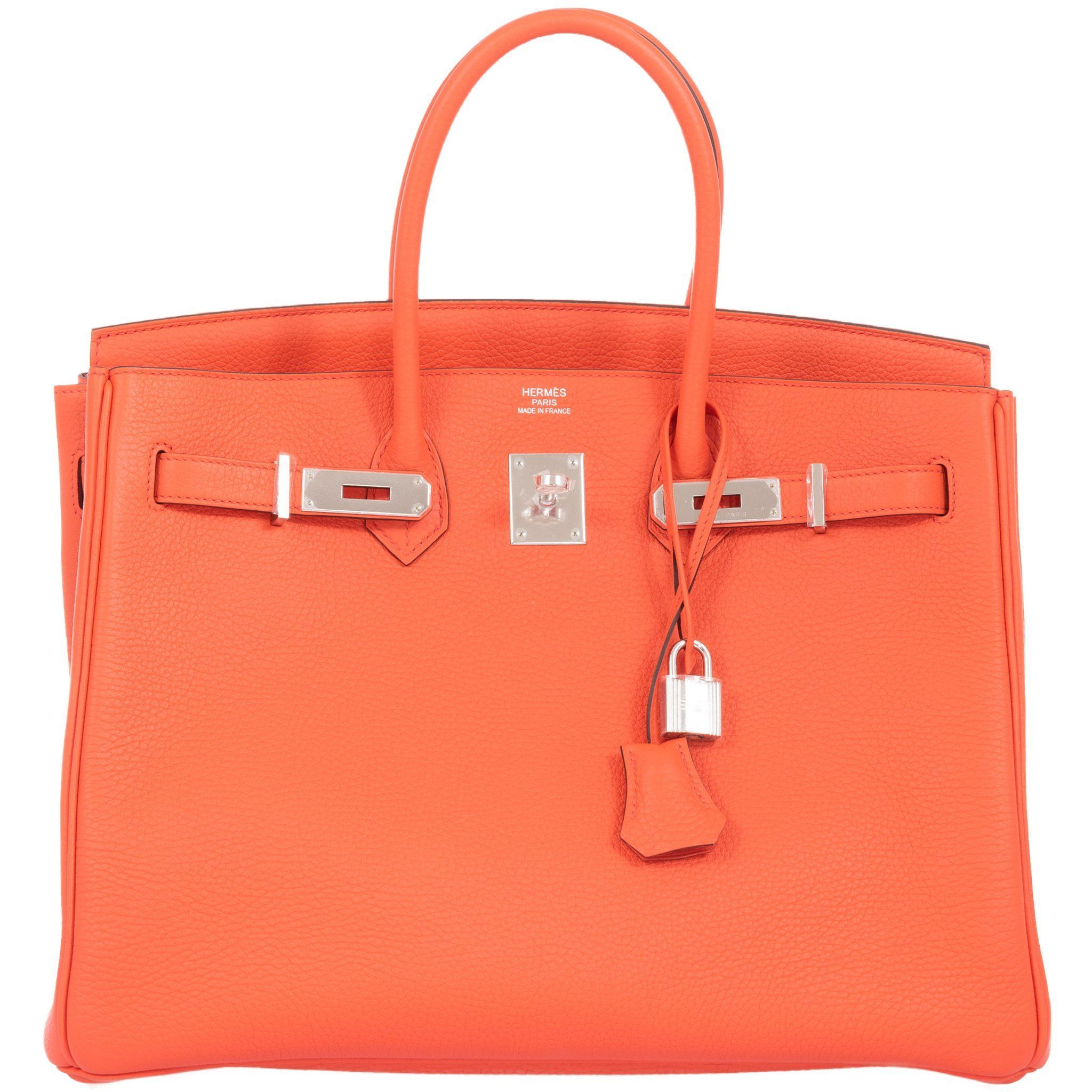 Hermes Birkin 35 Orange Poppy Clemence Palladium Hardware Janefinds Hermes Birkin Birkin Hermes Handbags