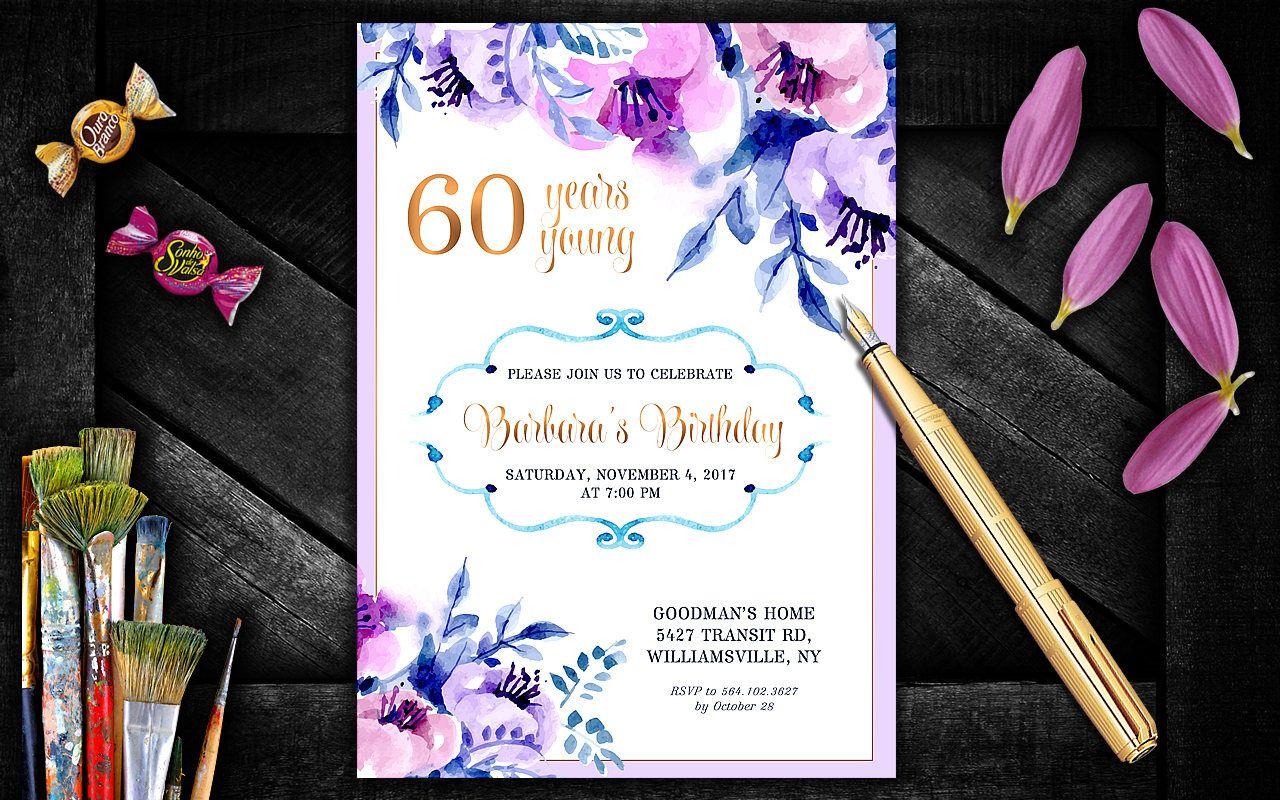 60th, 50th, 70th Birthday Invitation. Aniversary Party Invitation ...