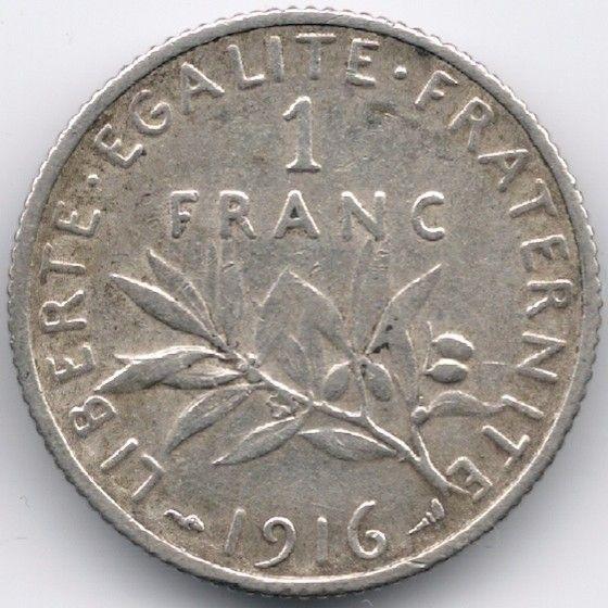 France : 1 Franc 1916 Silver
