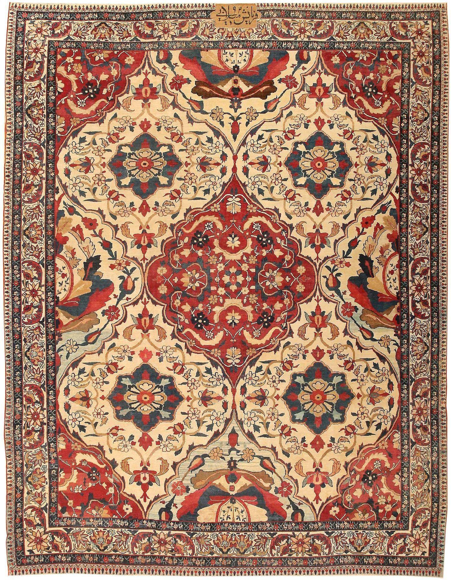 Antique Persian Kerman Rug 1817 Carpet Kilim